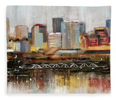 Edmonton Skyline Abstract1 Fleece Blanket
