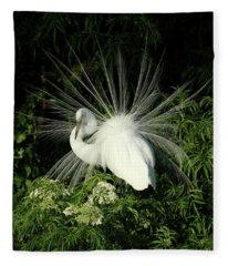 Egret Fan Dancer Fleece Blanket