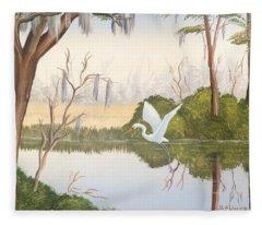 Egret In Flight 1 Fleece Blanket