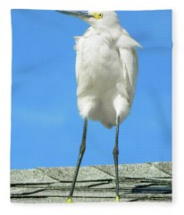 Egret Focused And Poised Fleece Blanket