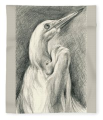 Egret Looking Heavenward Fleece Blanket
