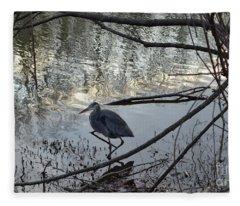 Egret, Martling's Pond Fleece Blanket