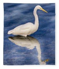 Egret Reflection On Blue Fleece Blanket