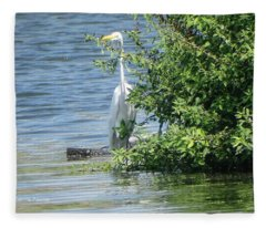 Great Egret In The Marsh Fleece Blanket
