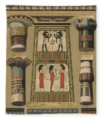 Egyptian, Architecture And Painting Fleece Blanket