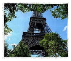 Eiffel Through Trees Fleece Blanket