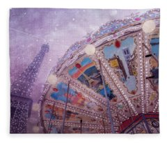 Fleece Blanket featuring the photograph Eiffel Tower And Carousel by Clare Bambers
