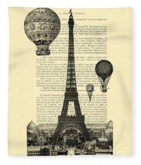 Eiffel Tower And Hot Air Balloons Fleece Blanket