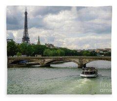 Eiffel Tower And The River Seine Fleece Blanket