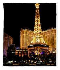 Eiffel Tower At Night Vegas Fleece Blanket