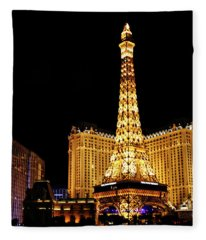 Eiffel Tower At Night Vegas Fleece Blanket