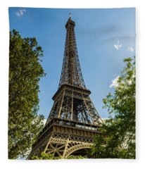 Eiffel Tower Through Trees Fleece Blanket