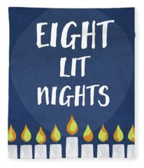 Eight Lit Nights- Hanukkah Art By Linda Woods Fleece Blanket