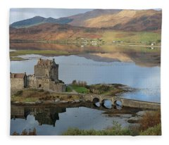 Eilean Donan Castle In Autumn - Panorama Fleece Blanket