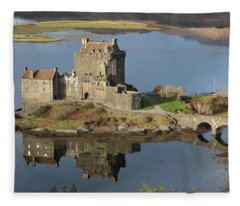 Eilean Donan Castle Reflections Fleece Blanket