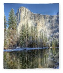 El Capitan From Cathedral Beach Winter Yosemite National Park Fleece Blanket