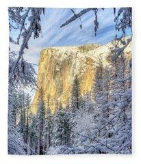 El Capitan Winter Majesty Yosemite National Park Fleece Blanket