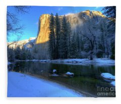 El Capitan Winter Yosemite National Park II Fleece Blanket