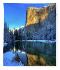 El Capitan Winter Yosemite National Park Fleece Blanket