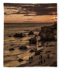 El Matador Beach At Dusk Fleece Blanket