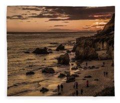 El Matador Beach At Dusk Fleece Blanket