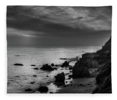 El Matador Beach - B W Fleece Blanket