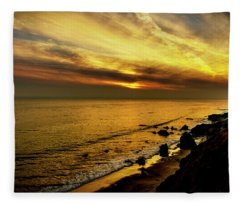 El Matador Beach Sunset Fleece Blanket