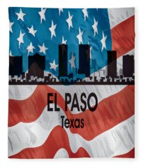 El Paso Tx American Flag Vertical Fleece Blanket