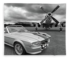 Eleanor Mustang With P51 Black And White Fleece Blanket