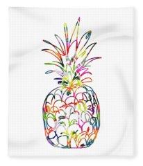 Electric Pineapple - Art By Linda Woods Fleece Blanket