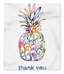 Electric Pineapple Thank You Card- Art By Linda Woods Fleece Blanket