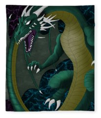Electric Portal Dragon Fleece Blanket
