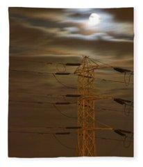 Electric Tower Under Supermoon Fleece Blanket