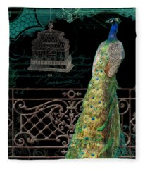 Elegant Peacock Iron Fence W Vintage Scrolls 4 Fleece Blanket