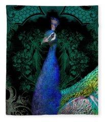 Elegant Peacock W Vintage Scrolls  Fleece Blanket