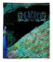 Elegant Peacock W Vintage Scrolls Typography 4 Fleece Blanket