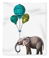Elephant Holding Blue And Yellow Balloons Fleece Blanket
