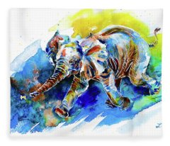 Elephant Calf Playing With Butterfly Fleece Blanket