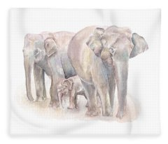 Elephant Family Fleece Blanket