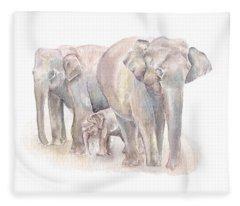 Elephant Family Fleece Blanket