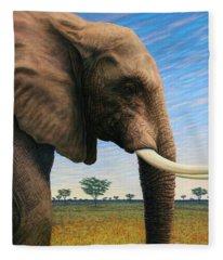 Elephant On Safari Fleece Blanket