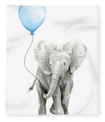 Elephant Watercolor Blue Nursery Art Fleece Blanket