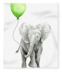 Elephant Watercolor Green Balloon Kids Room Art  Fleece Blanket