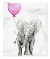 Baby Elephant Watercolor  Fleece Blanket