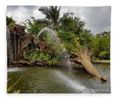 Elephant Waterfall Fleece Blanket
