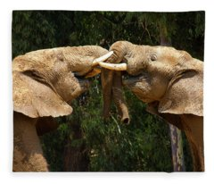 Elephants At Play Fleece Blanket