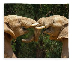 Elephants Playing  Fleece Blanket