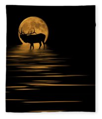 Elk In The Moonlight Fleece Blanket