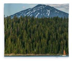 Elk Lake Sailing  Fleece Blanket