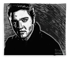 Elvis Presley In Pen And Ink - Doc Braham - All Rights Reserve Fleece Blanket
